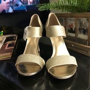Sparkly gold heels